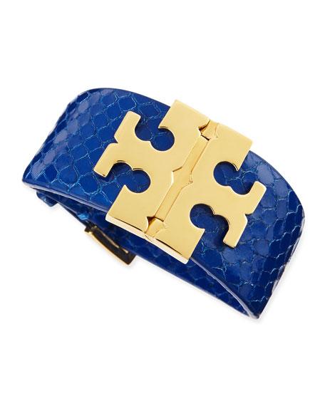 Wide Snake-Embossed T-Hinged Bracelet, Sapphire Blue