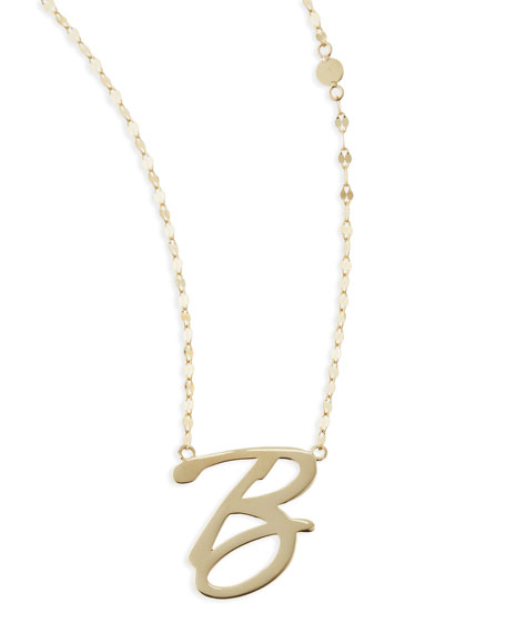 14k Gold Initial Letter Necklace, B