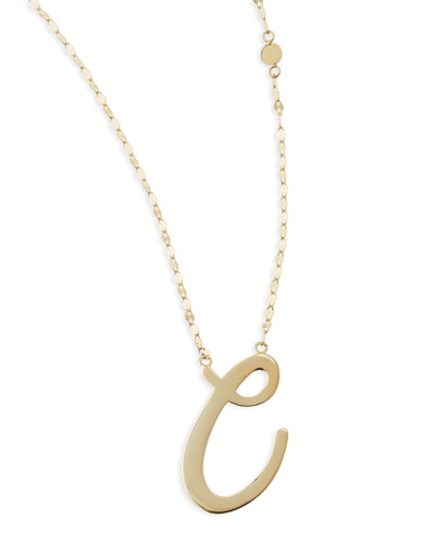 Lana 14k Gold Initial Letter Necklace, C