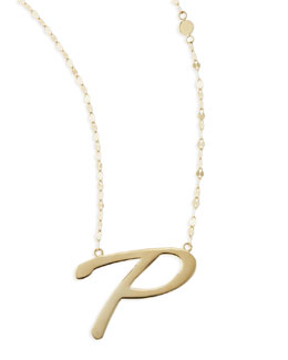 Lana 14k Gold Initial Letter Necklace, P