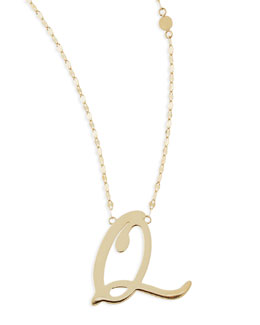Lana 14k Gold Initial Letter Necklace, Q