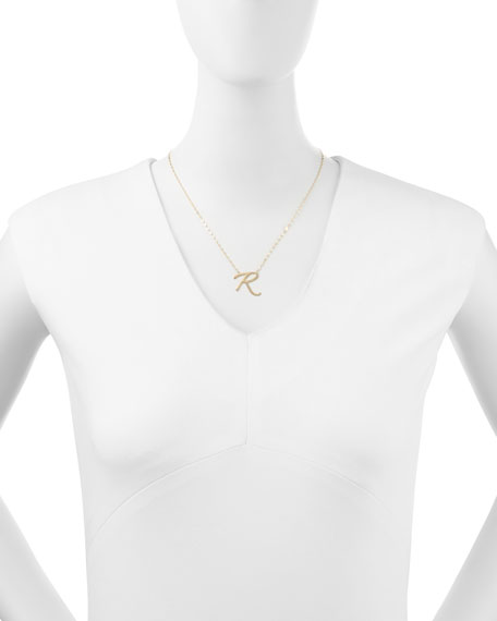 14k Gold Initial Letter Necklace, R