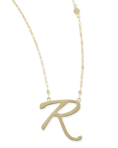 Lana 14k Gold Initial Letter Necklace, R