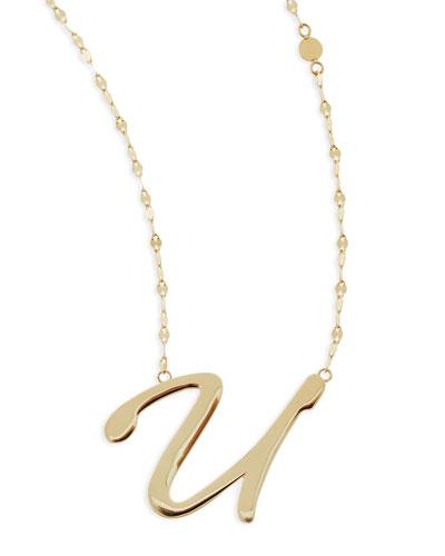 Lana 14k Gold Initial Letter Necklace, U