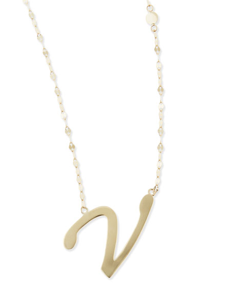 14k Gold Initial Letter Necklace, V