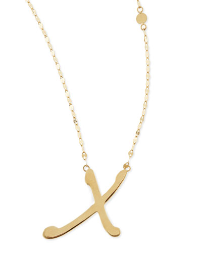 Lana 14k Gold Initial Letter Necklace, X