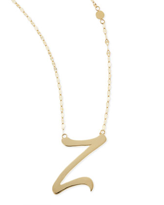 14k Gold Initial Letter Necklace, Z