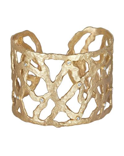 Dominique Cohen 18k Gold Open-Weave Cuff with Diamonds