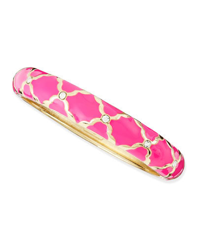 Sequin Medium Lattice Enamel Bangle, Neon Pink