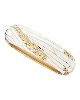 Sequin Wide Insect-Wing Bangle, White