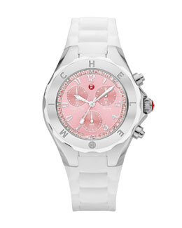 MICHELE Tahitian Jelly Bean Topaz-Bezel Chronograph Watch, Stainless/White/Pink