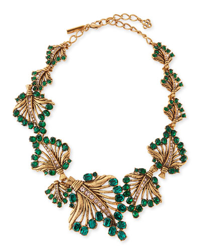 Cutout Jeweled Leaf Necklace, Green