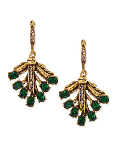 Oscar de la Renta Cutout Jeweled Leaf Earrings, Green