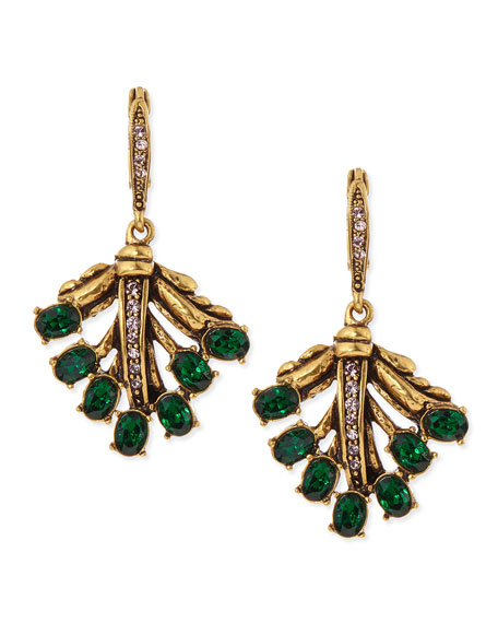 Cutout Jeweled Leaf Earrings, Green
