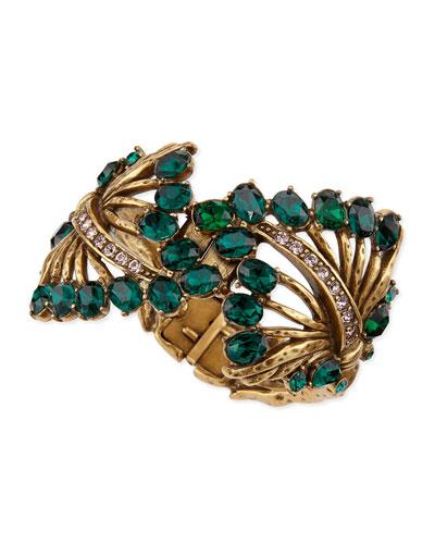Oscar de la Renta Cutout Jeweled Cuff Bracelet, Green