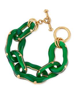 Oscar de la Renta Resin Link Bracelet, Green