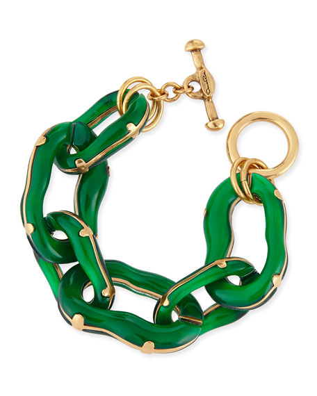 Resin Link Bracelet, Green