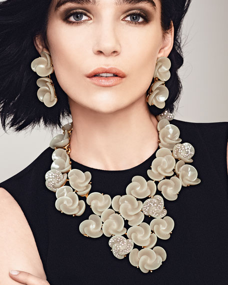 Resin Flower Bib Necklace, Almond