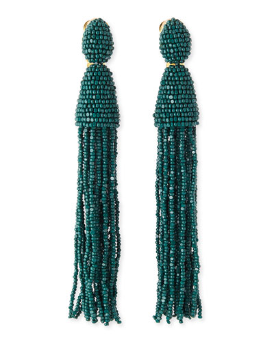 Oscar de la Renta Long Beaded Tassel Earrings, Forest Green