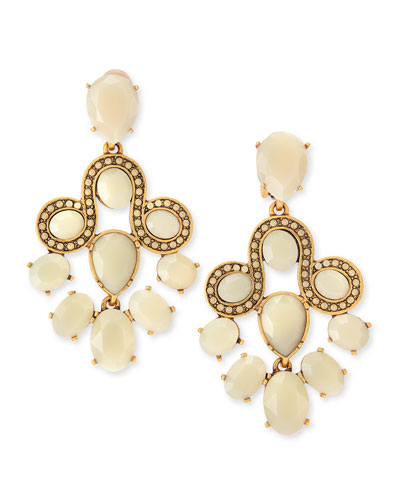 Oscar de la Renta Resin Faceted Chandelier Clip-On Earrings, Almond
