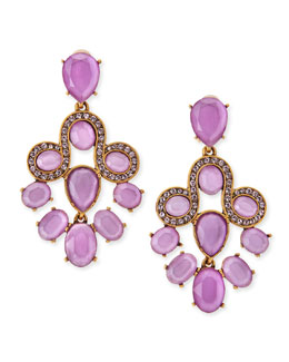 Oscar de la Renta Resin Faceted Chandelier Clip-On Earrings, Lilac