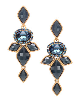Oscar de la Renta Marquise Resin Drop Clip-On Earrings, Navy Blue