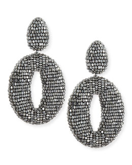 Oscar de la Renta Oscar O Crystal Clip Earrings, Silver