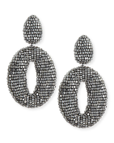 Oscar de la Renta Oscar O Beaded Clip Earrings, Silver