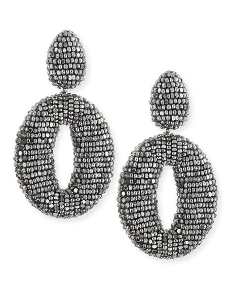 Oscar O Beaded Clip Earrings, Silver