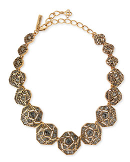 Oscar de la Renta Pave Crystal Geometric Rose Necklace