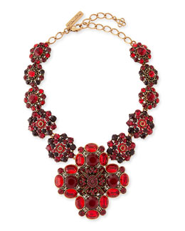Oscar de la Renta Bold Jeweled Necklace, Crimson