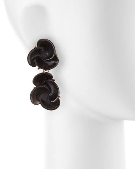 Resin Flower Clip-On Earrings, Black