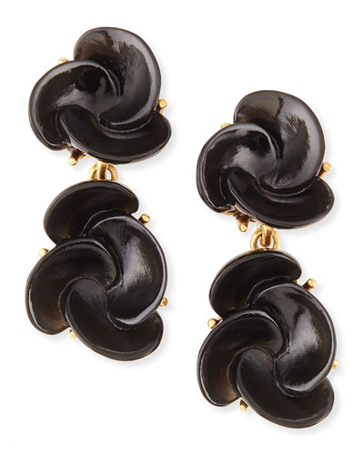 Oscar de la Renta Resin Flower Clip-On Earrings, Black