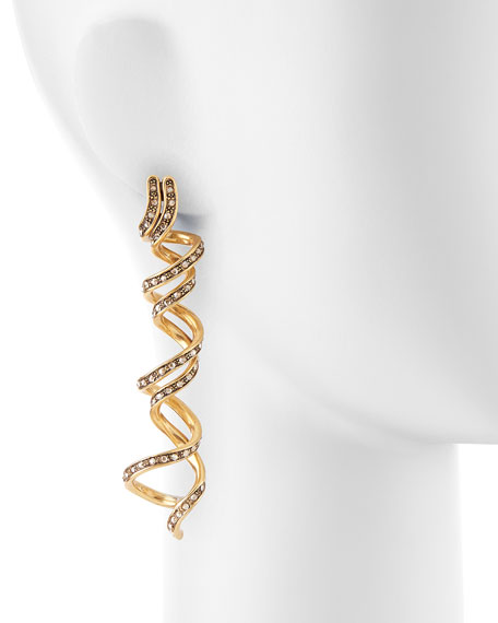 Pave Crystal Spiral Earrings