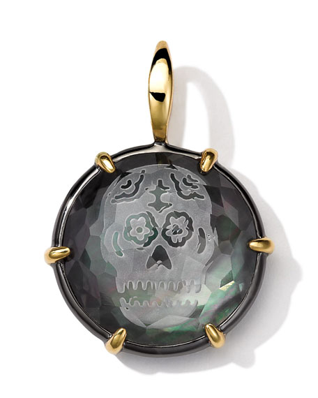 Black Sterling Silver and 18k Gold Intaglio Skull Charm, Black Shell Doublet