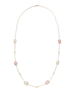 "Lana 14k Blush Stone Station Necklace, 30""L"