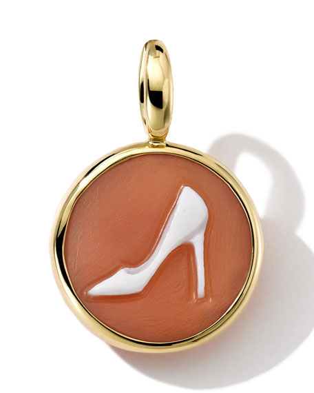 18k Gold Round Pump Shoe Cameo Charm