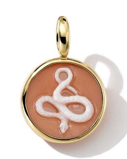Ippolita 18k Gold Round Snake Cameo Charm