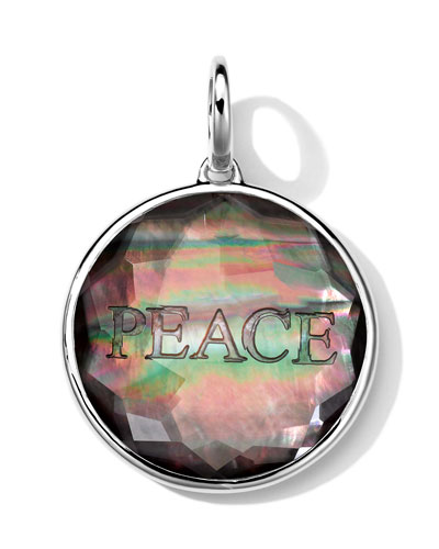 Sterling Silver Carved Intaglio PEACE Charm, Black Shell Doublet