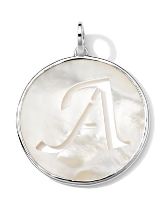 Sterling Silver Lollipop Letter Charm, Mother-of-Pearl Doublet