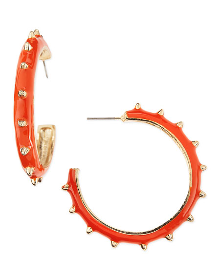 Studded Hoop Earrings, Coral