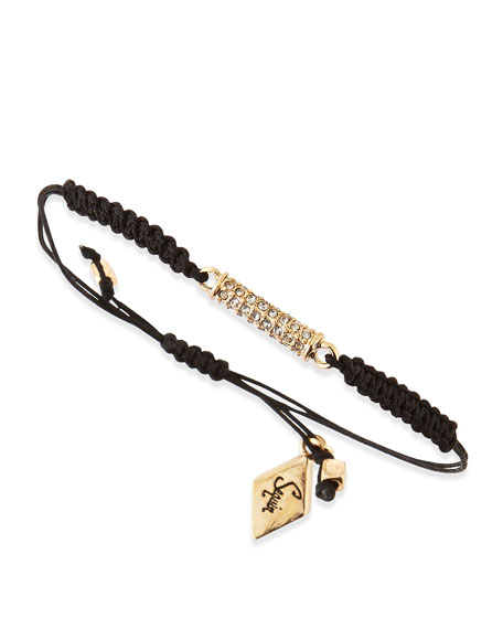 Drawstring Cord Bracelet with Crystal Rod, Black