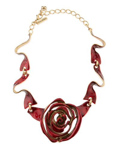Oscar de la Renta Resin-Painted Rose Necklace, Red