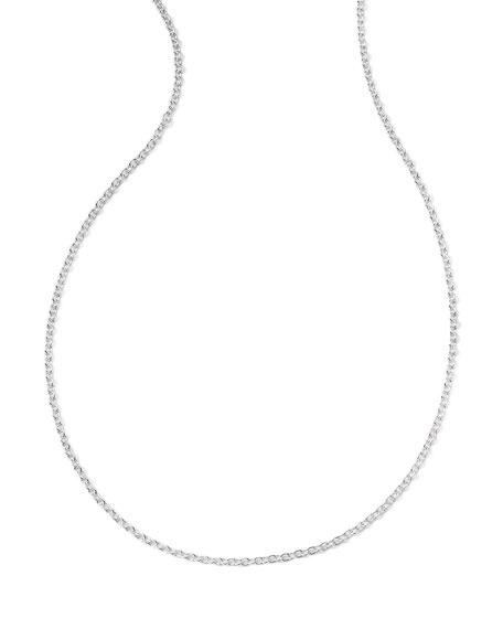 Silver Thin Charm Chain Necklace, 36""