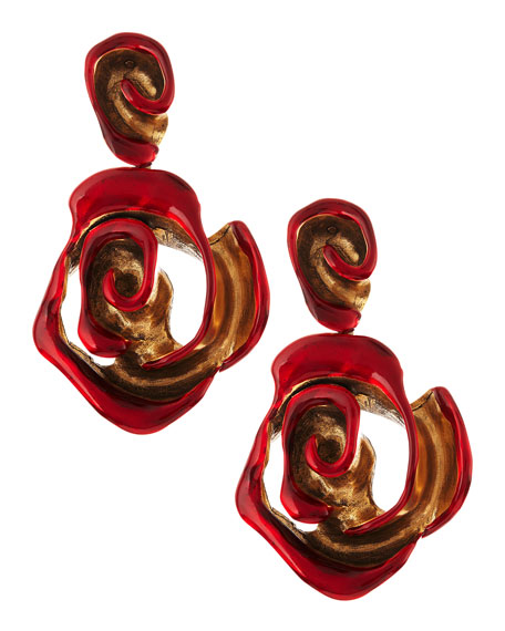Resin-Painted Rose Clip-On Earrings, Red