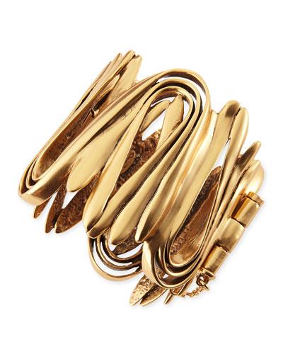 Oscar de la Renta Yellow Golden Wave Cuff Bracelet