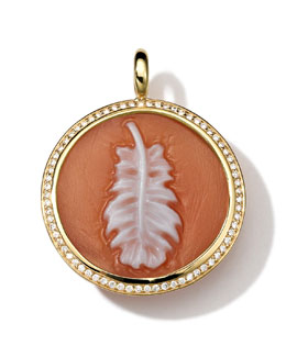 Ippolita 18k Gold Round Feather Cameo Charm with Diamonds