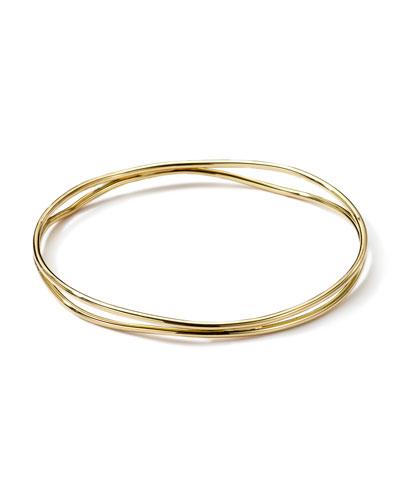 Ippolita 18k Gold Smooth Electroform Double Band Wavy Bangle