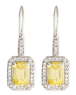 Fantasia by DeSerio Emerald-Cut Canary Cubic Zirconia Drop Earrings, 4.5TCW