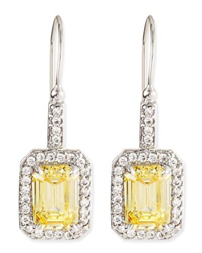 Emerald-Cut Canary Cubic Zirconia Drop Earrings, 4.5TCW